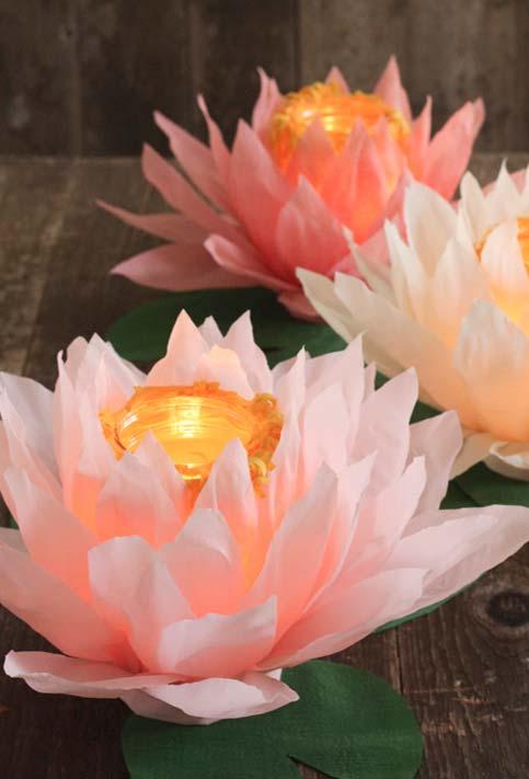 Decoração de casamento DIY: Flores de lótus com velas no centro