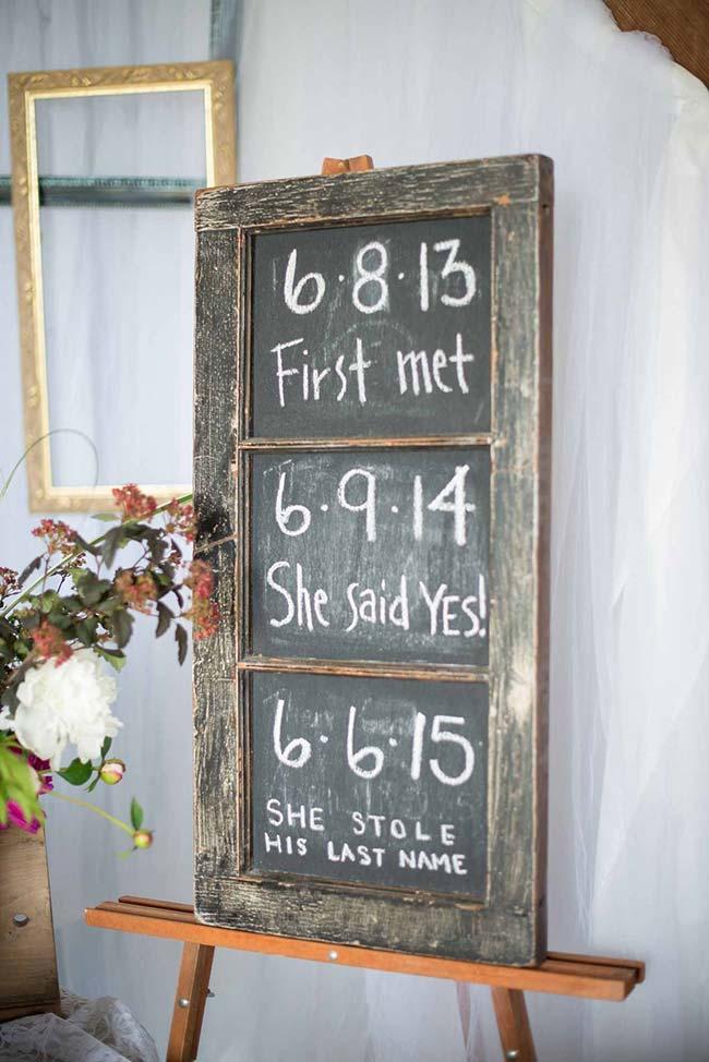 Decoração de casamento faça você mesmo: na lousa, as datas que marcaram a vida do casal