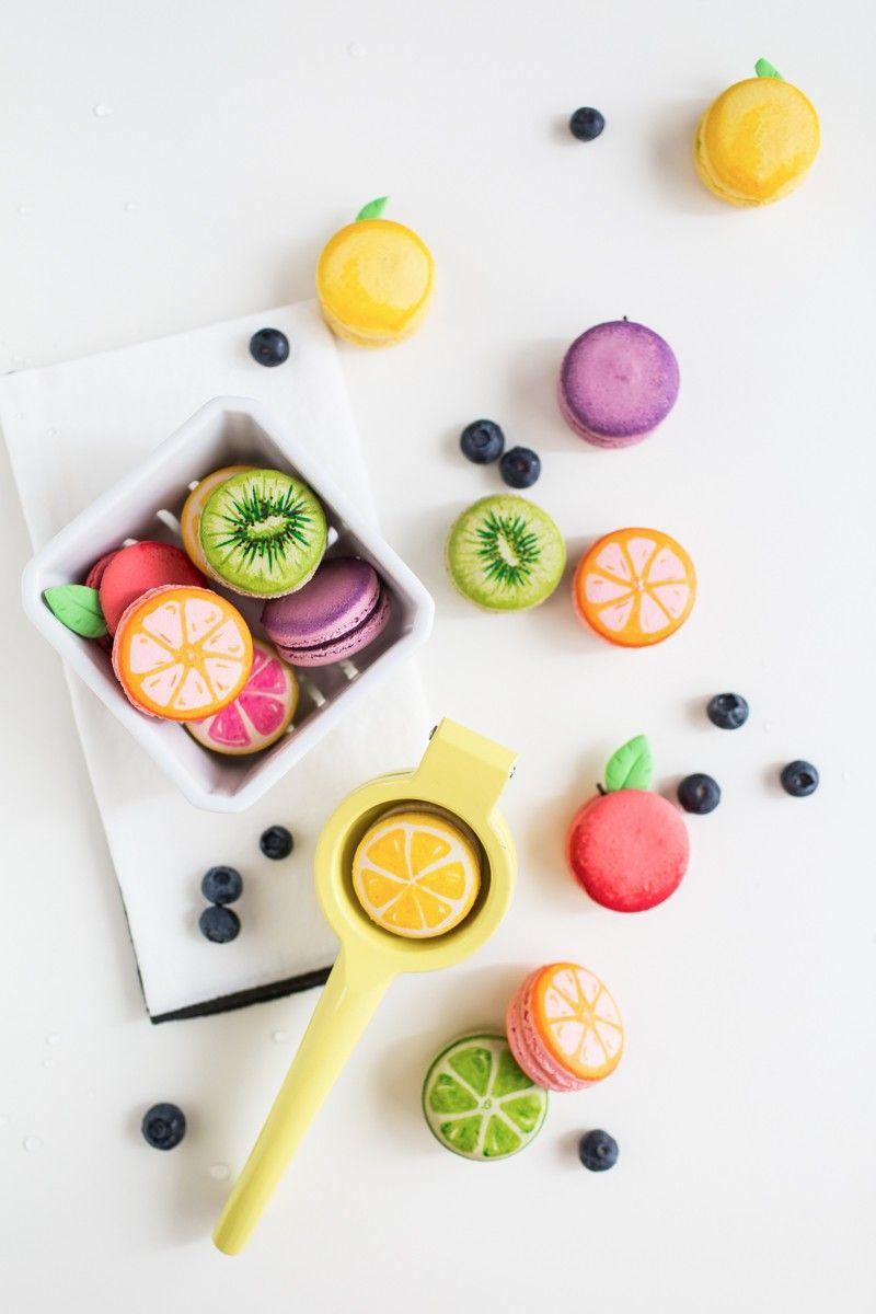 Macarons para festa com tema cítrico