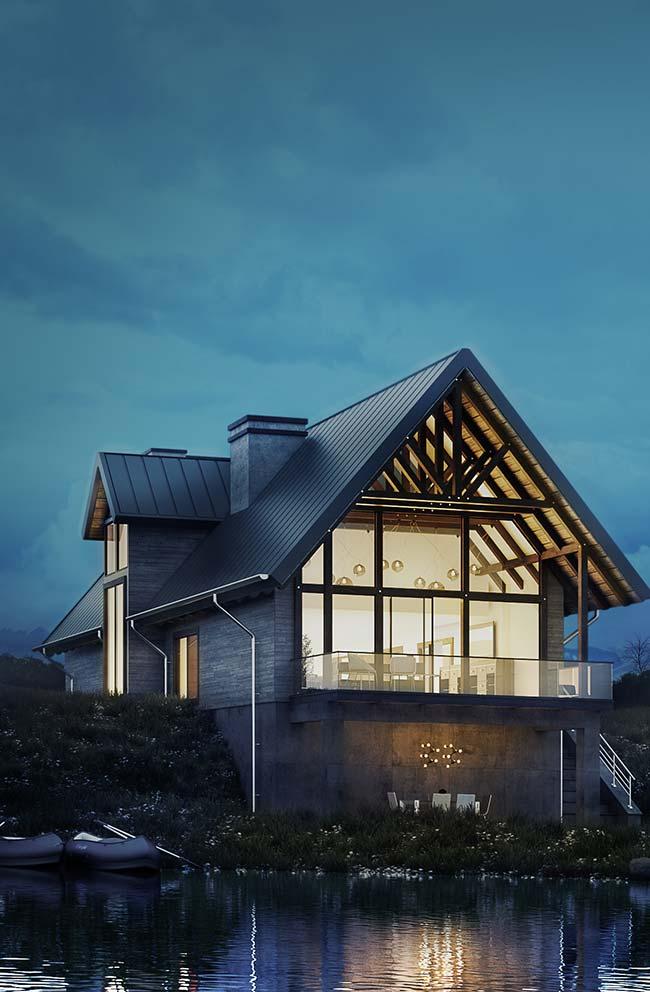 Casa no lago com telha de zincco