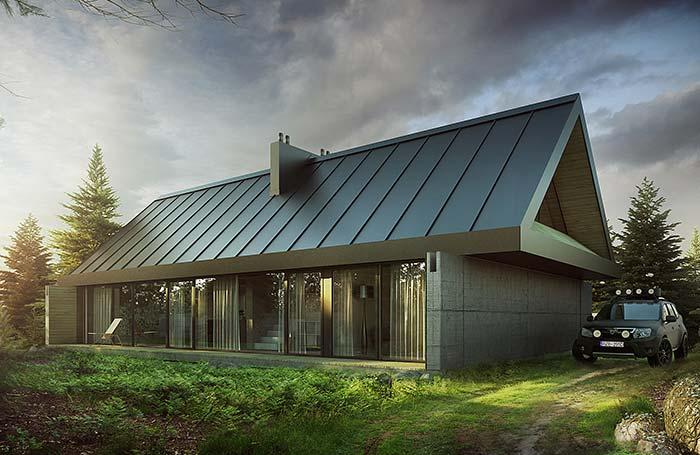 Construção moderna com telha de zinco