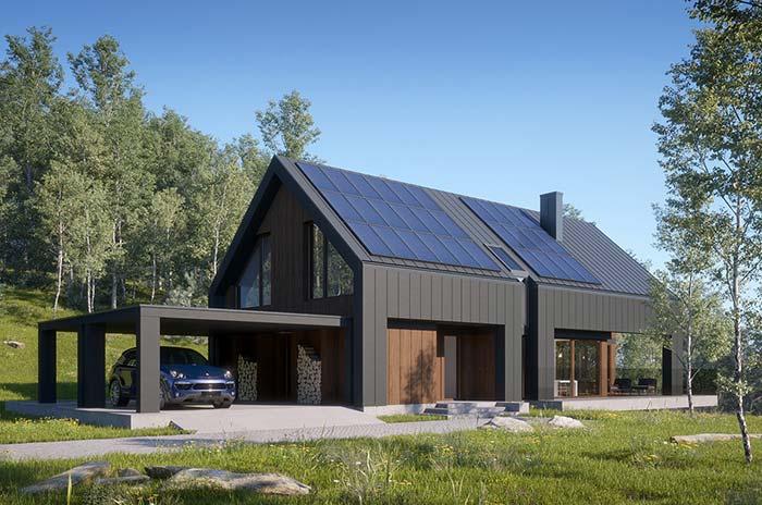 Painel solar com telha de zinco