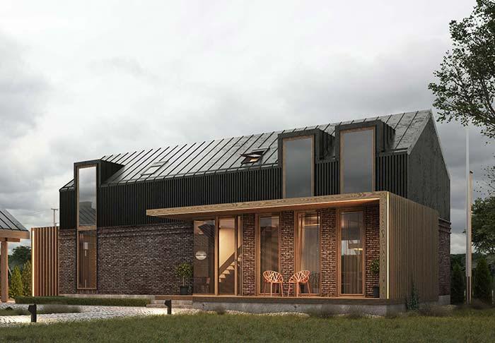 Casa de tijolinhos com telha de zinco