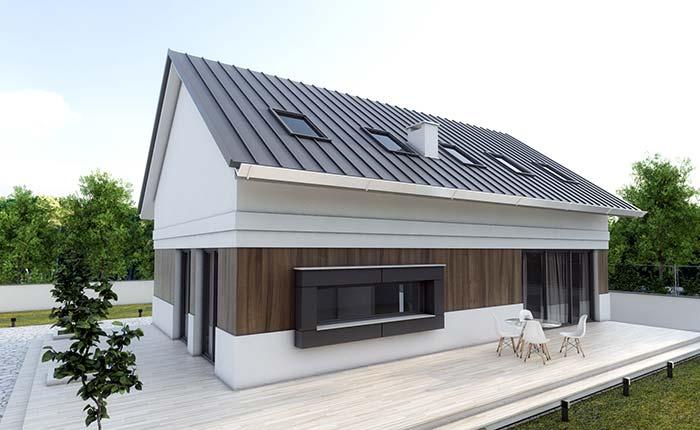 Portas e janelas em harmonia com a telha de zinco