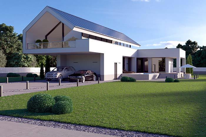 Arquitetura moderna com telha de zinco