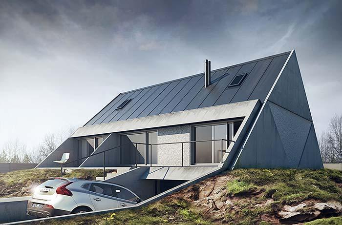 Construção com telhado diferenciado