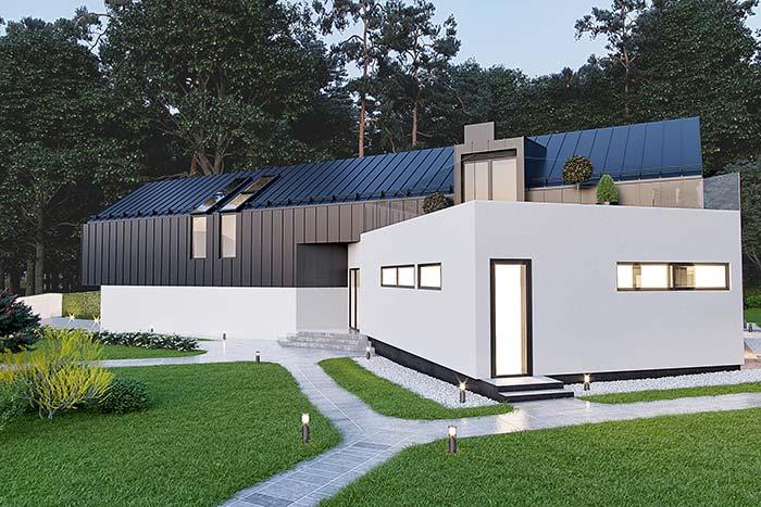 Telha de zinco em casa com estilo container