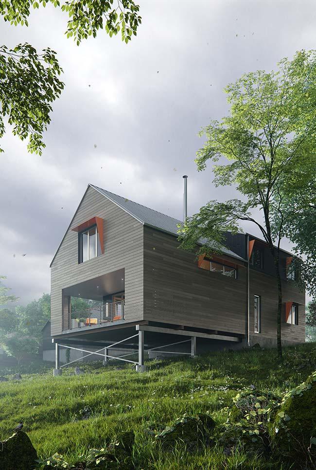 Telha de zinco para casa com visual industrial