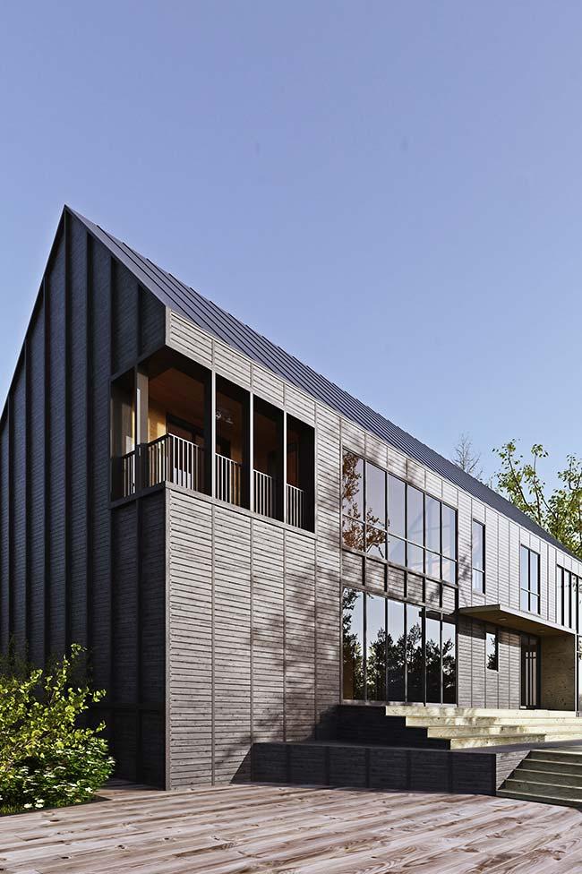 Casa alongada com telha de zinco
