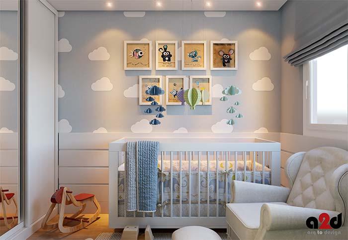 Parede de quadros para quarto de bebê