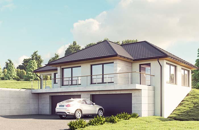 O muro de arrimo é a própria casa; nesse tipo de construção o cuidado com a estrutura e a impermeabilização deve ser ainda maior
