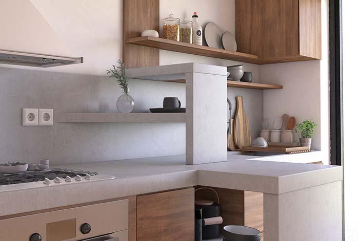 Bancada de cozinha feita com cimento queimado branco