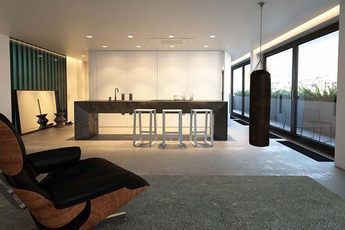 Cimento queimado branco no piso em casa moderna
