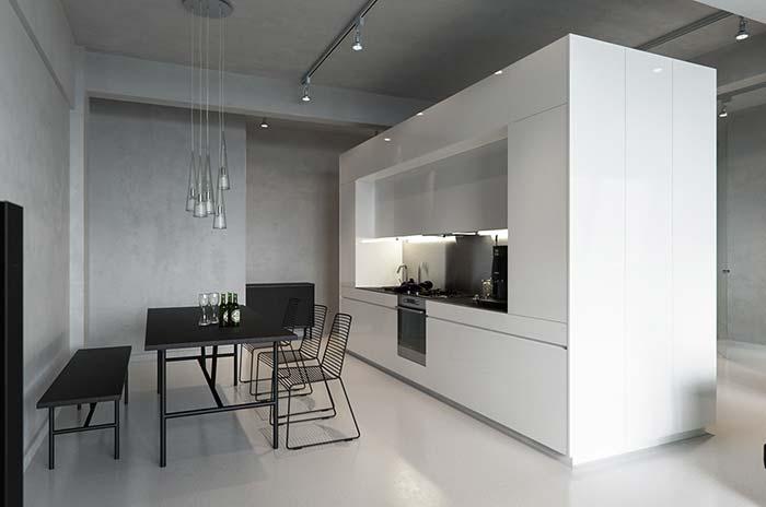 Cozinha minimalista com piso de cimento queimado branco