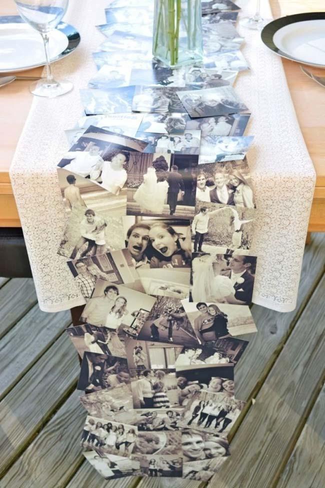 Toalha de mesa feita com a foto dos noivos para festa de noivado simples