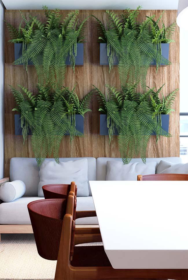 Sofá branco em varanda com decoração moderna