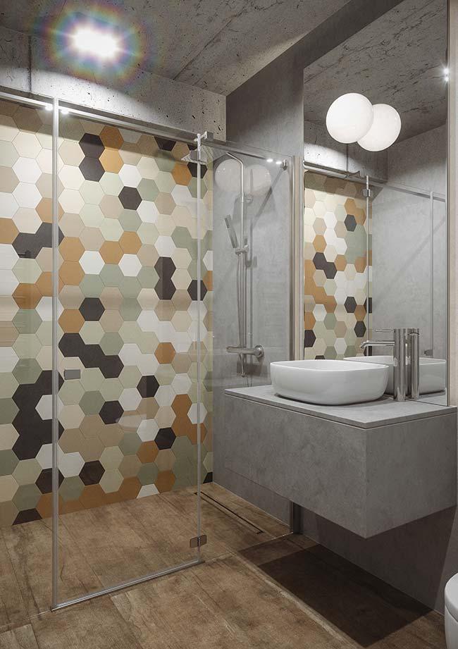 Banheiro com decoração moderna