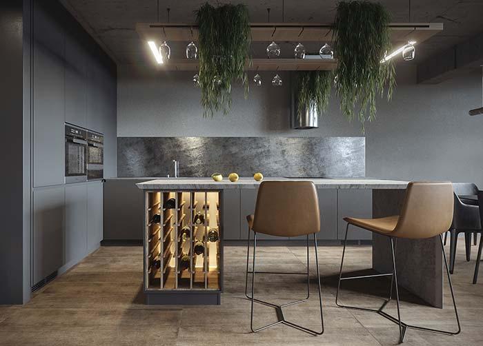 Cozinha cinza com decoração moderna