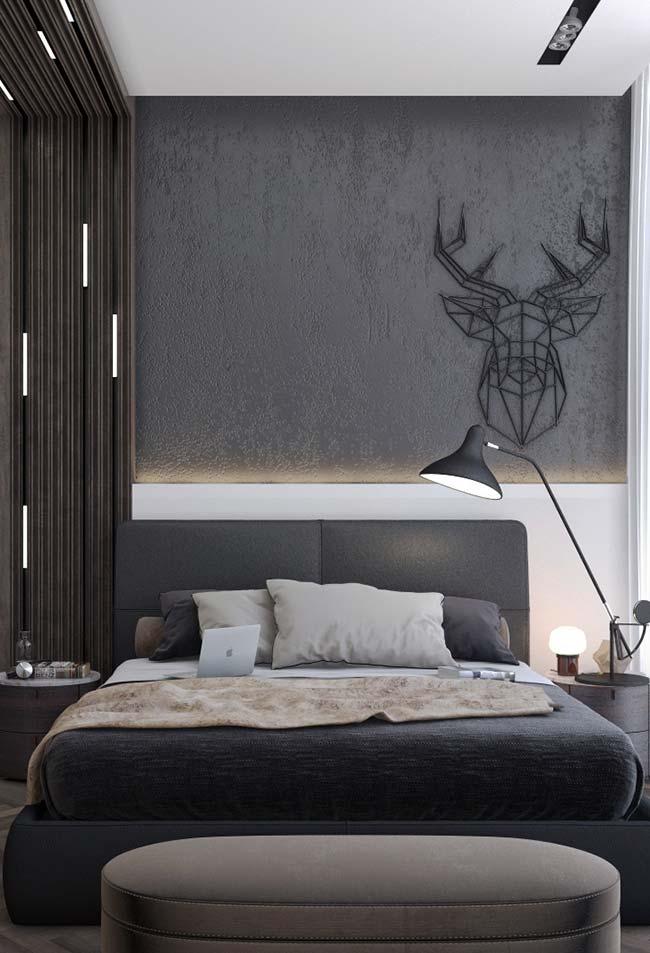 Modelo de quarto de casal com decoração moderna