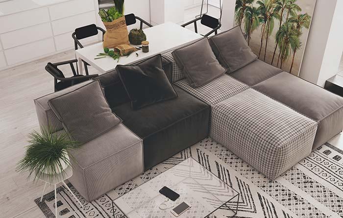 Cinza na decoração de sala moderna