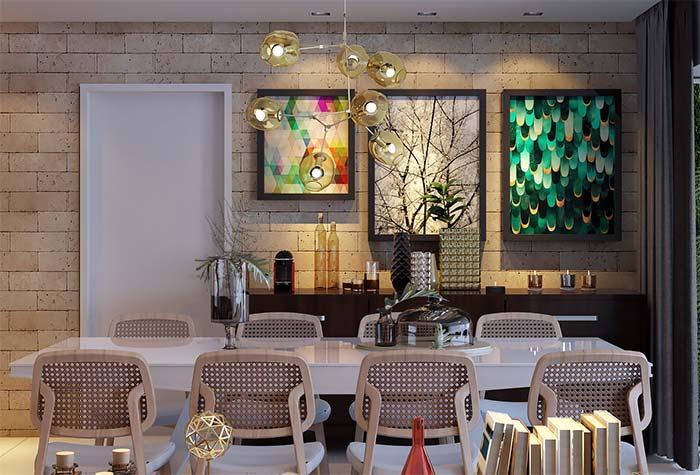 Sala de jantar com decoração moderna com influência do estilo contemporâneo