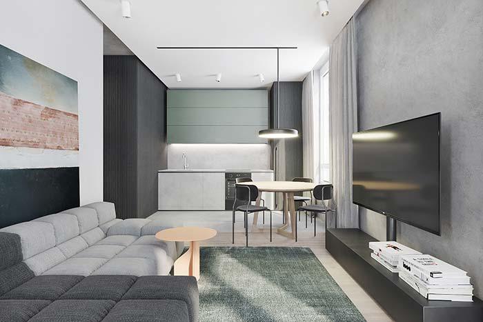 Para não ter dúvidas do que é uma decoração moderna se inspire nessa imagem; ela contem todos os elementos que caracterizam esse estilo.