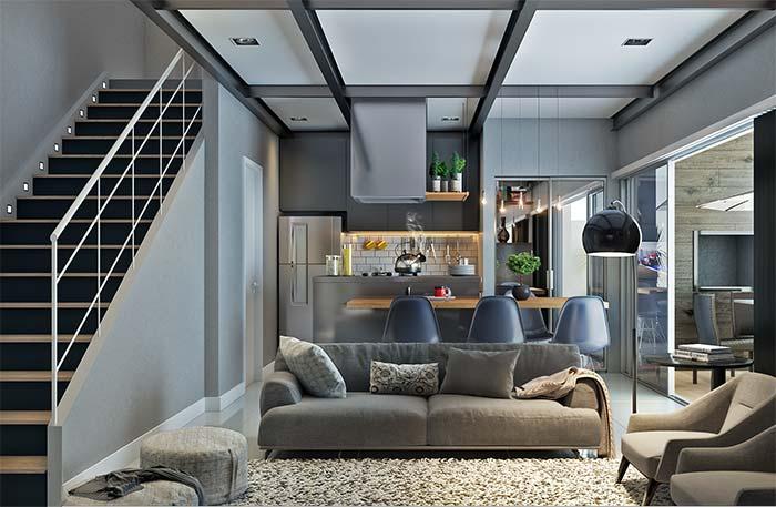 Decoração moderna: padrão de cores e formas acompanham toda a decoração dos ambientes integrados