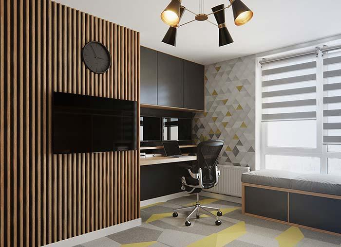 Home office com decoração moderna
