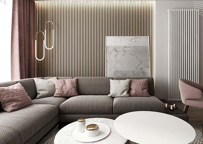 Nessa sala, o design moderno das luminárias pendentes se destaca