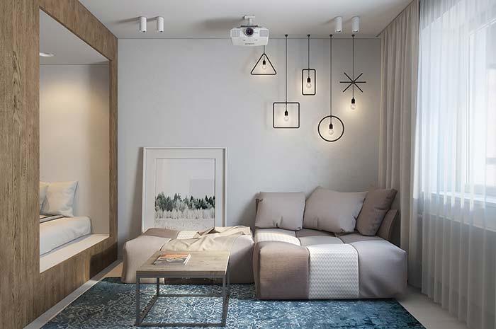 Decoração moderna com luminárias geométricas