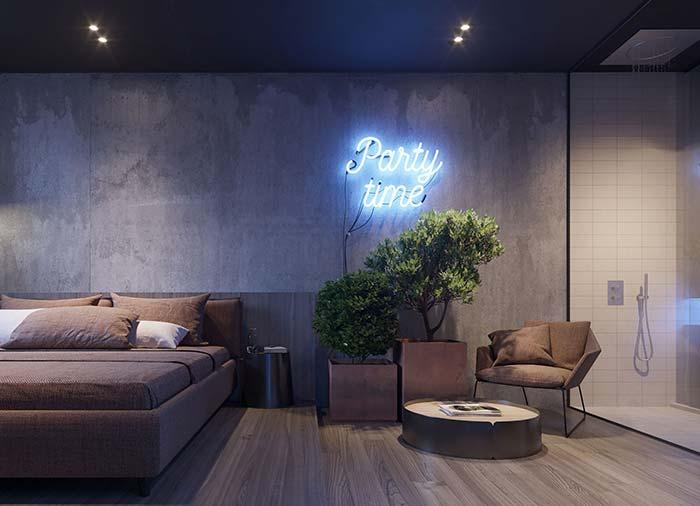 Decoração moderna com letreiro de LED