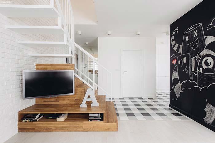 Decoração moderna com parede lousa