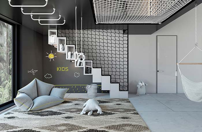 Preto e branco para decoração moderna de quarto de criança