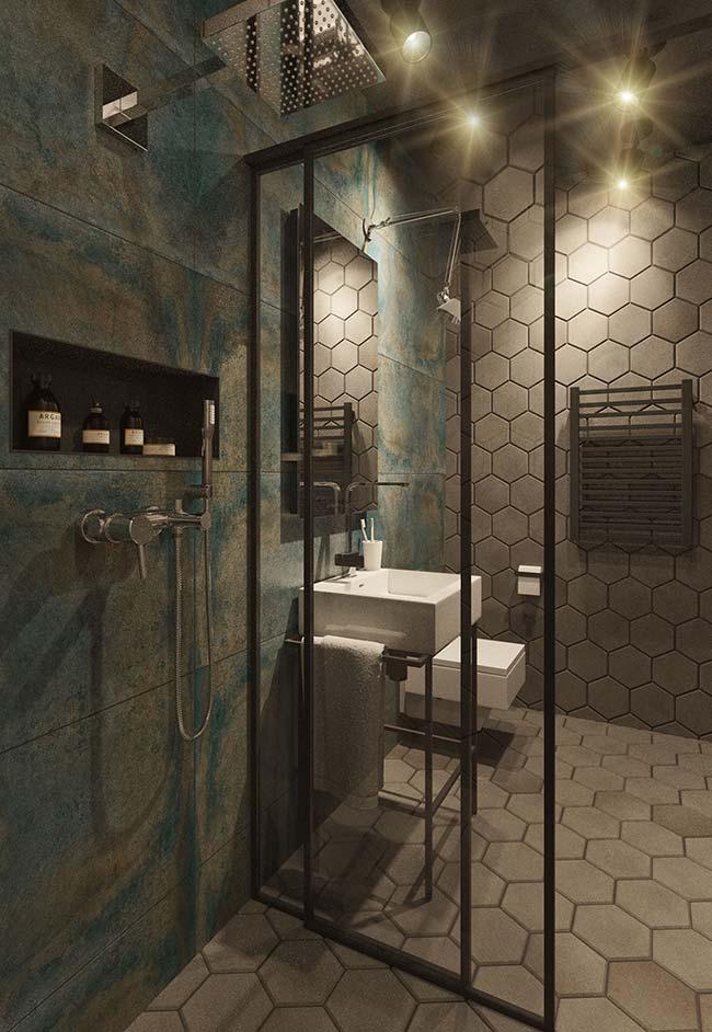 Banheiro sofisticado com decoração moderna