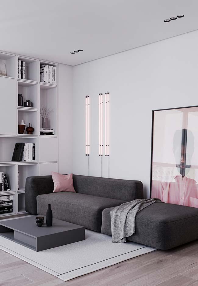 Sala de estar decorada romântica