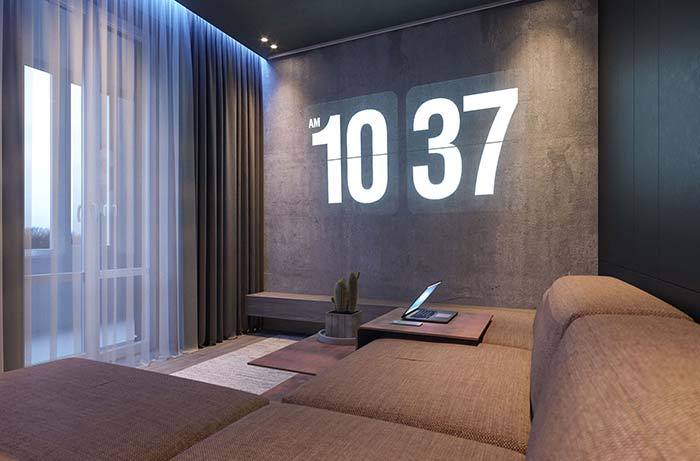 Sala de estar decorada para quem ama um filme no sofá