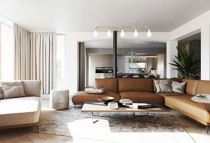 Tons de off white formam a base da decor dessa sala de estar decorada