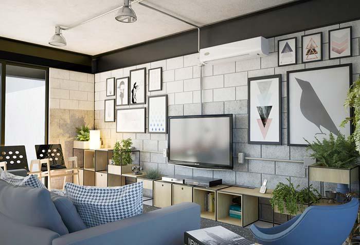 Blocos estruturais na sala de estar decorada
