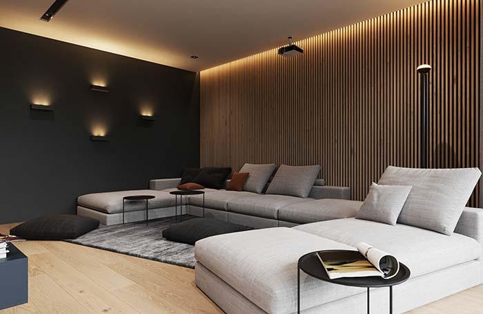 Madeira para trazer aconchego a sala de estar decorada