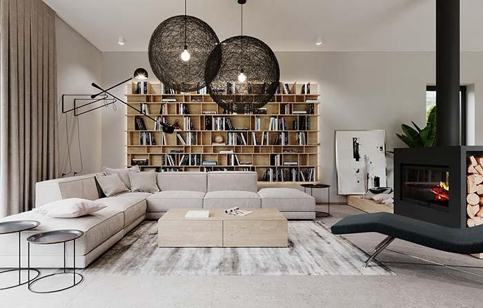 Modelo de sala de estar grande decorada