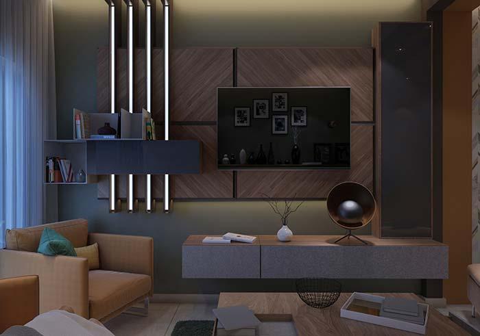 Barras metálicas na sala de estar decorada