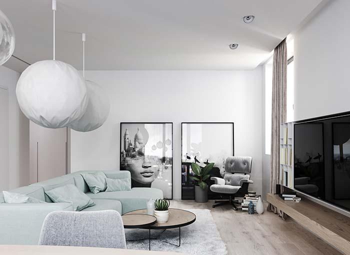 Sala de estar decorada para os apaixonados por decoração clean