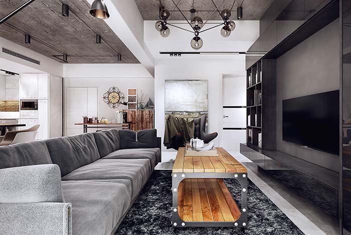 Sala de estar decorada corredor