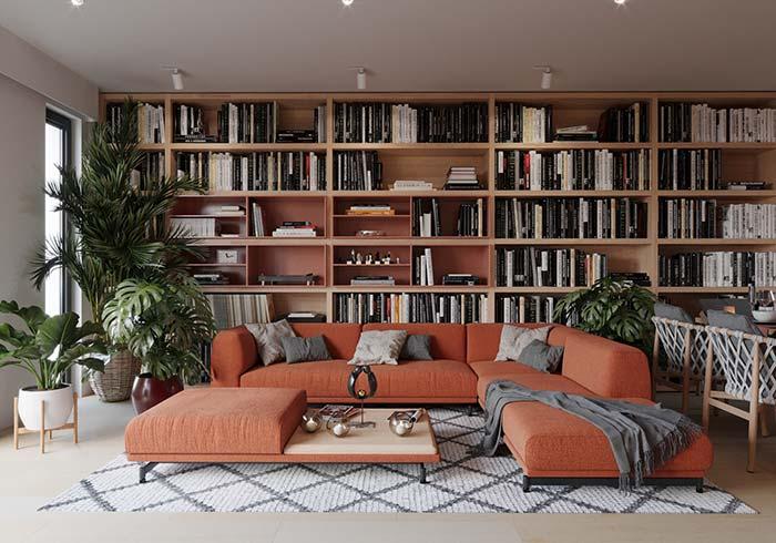 Os amantes de livros e plantas vão se apaixonar por essa sala de estar decorada