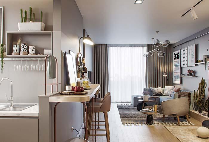 Ambientes pequenos na decoração de apartamento decorado