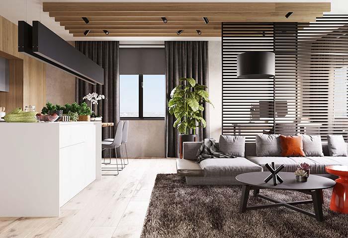Divisória vazada em apartamentos decorados