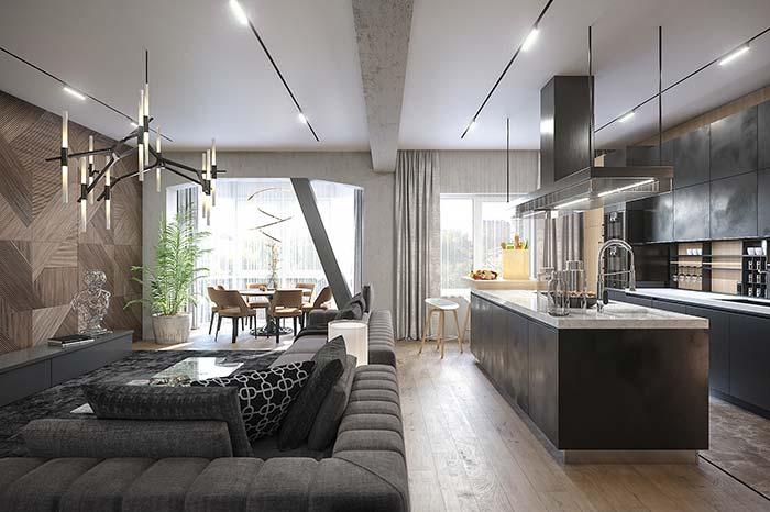 Móveis que marcam cada ambiente no apartamento decorado