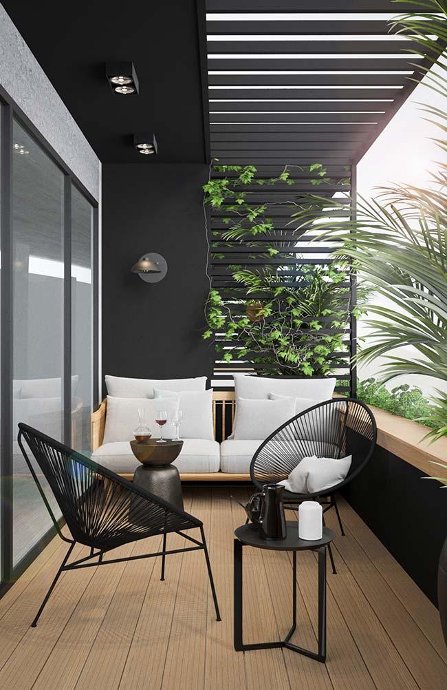 Varanda de apartamento decorado aconchegante