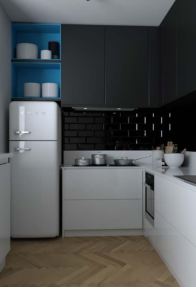 Cozinha de apartamento decorado pequeno em formato L