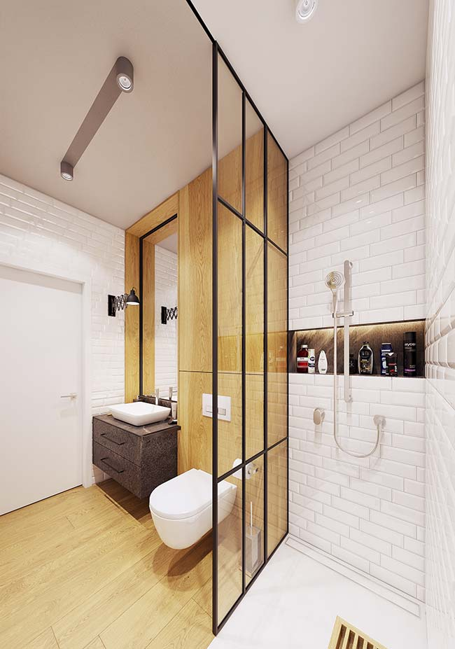 Banheiro de apartamento moderno decorado